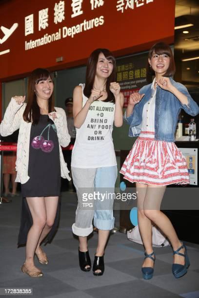 AKB48 member Kikuchi Ayaka Katayama Haruka and Abe Maria finished their Taipei travel on Thursday July 04 2013 in Taipei Taiwan ChinaThey get a warm...