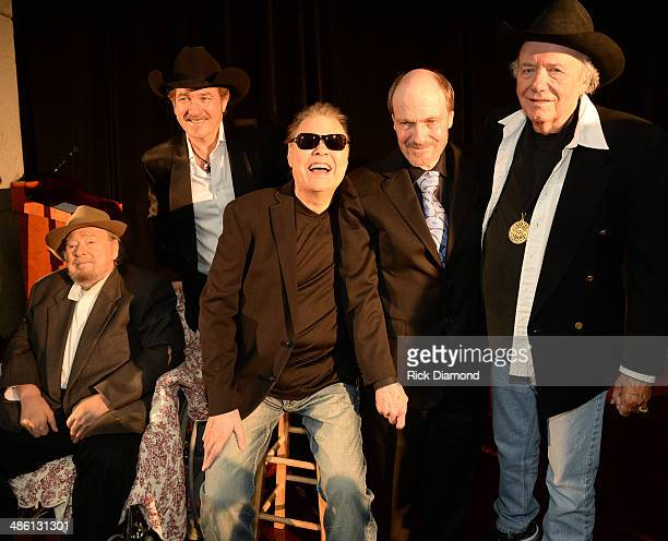 CMHOF member Mac Wiseman Synciated Radio host Kix Brooks CMHOF Members Ronnie Milsap Bobby Braddock and Bobby Bare attend the 2014 Country Music Hall...