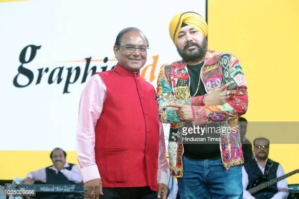 PHDCCI member Mukesh Gupta with Punjabi Pop Singer Daler Mehandi during Gata Rahe Mera Dil 2018 an annual cultural cum awards event at Talkatora...