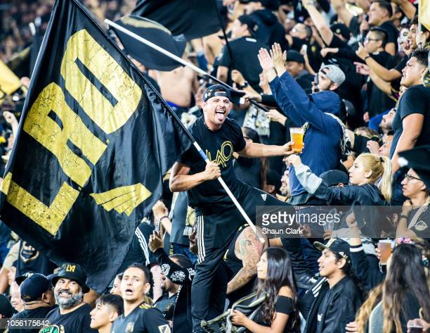 A member of 3252 supporters group enjoyed the Los Angeles FC's MLS Western Conference Knockout match against Real Salt Lake at the Banc of California...