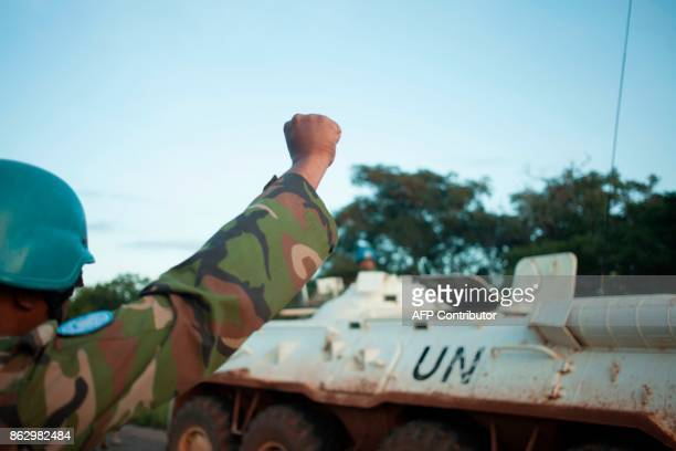 A member of a patrol of the Bangladeshi contingent of the United Nations Multidimensional Integrated Stabilisation Mission in the Central African...