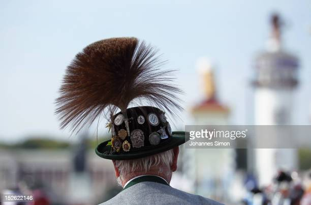 A member of a riflemen's association wears a traditional Bavarian Gamsbart hat during the riflemen's parade during day 2 of the Oktoberfest beer...