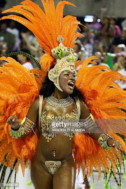 A member of Academicos do Salgueiro samba school parades at the Sambodrome during carnival celebrations in Rio de Janeiro Brazil 03 February 2008...