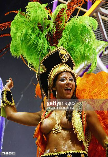 A member of Academicos do Salgueiro samba school performs on a float at the Sambodrome during carnival celebrations in Rio de Janeiro Brazil 03...