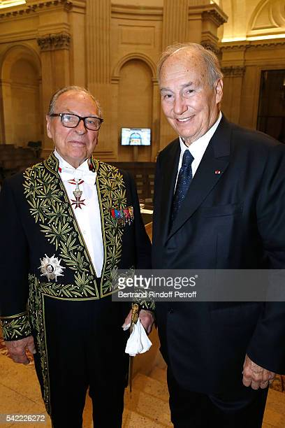 Member of 'Academie Francaise' Gabriel de Broglie and Prince Karim Aga Khan attend Dominique Perrault becomes a Member of the 'Academie des...