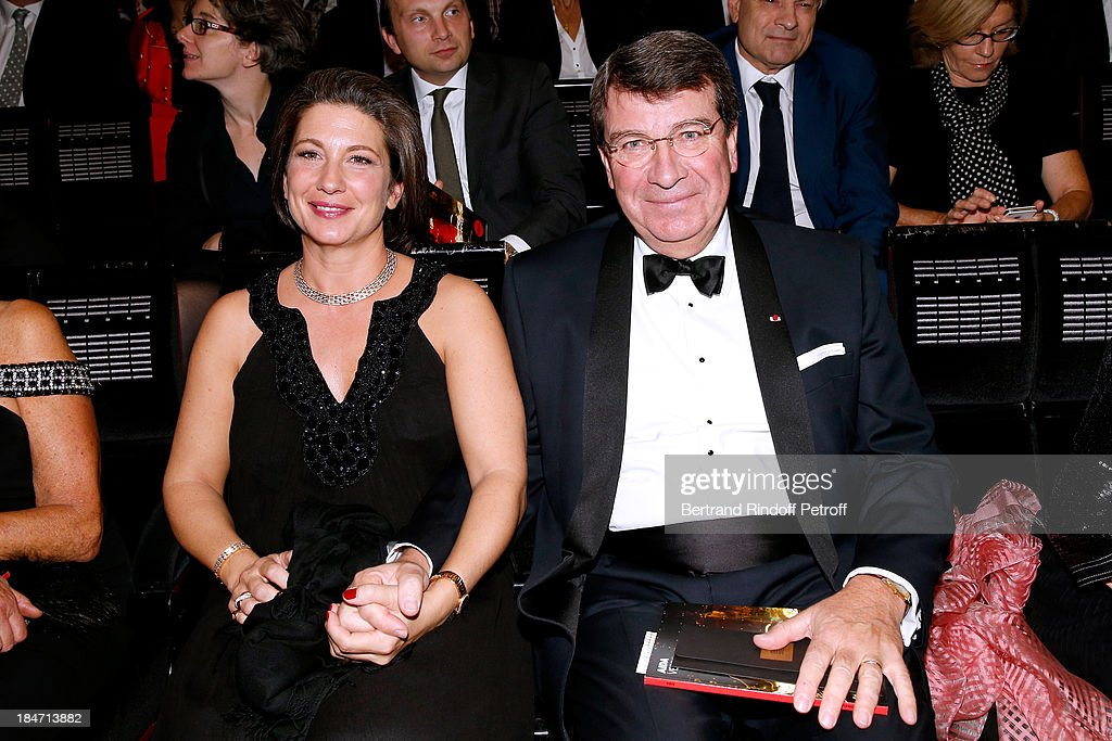 Member of 'Academie Francaise' Xavier Darcos with his wife Laure Darcos attend AROP Gala at Opera Bastille with a representation of 'Aida' on October 15, 2013 in Paris, France.