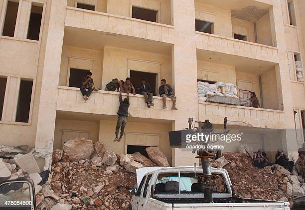 Member of AlFatah forces are seen after they took control of the Eriha district and Arbain Mountain from Assad forces in Idlib Syria on May 29 2015