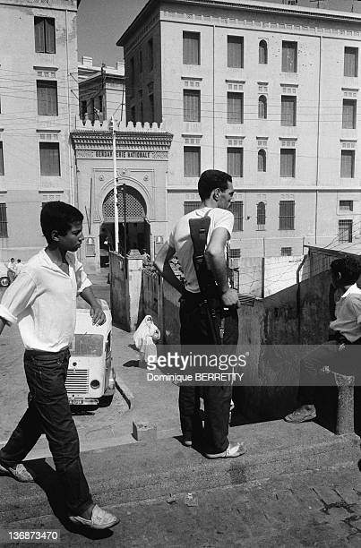 A member of Algerian Liberation Army in a street of Algiers two months after the Independence on September 5 1962 in Algiers Algeria
