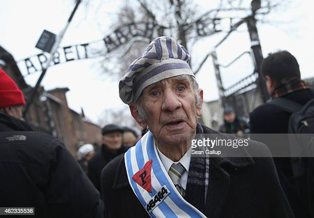 A member of an association of Auschwitz concentration camp survivors walks through the infamous 'Arbeit Macht Frei' entrance gate after laying...