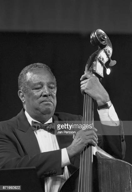Member of Andre Previn Trio bassist Ray Brown performing at The Tivoli Gardens Copenhagen Denmark 1995