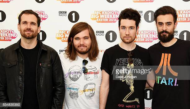Member of Bastille pose for a photo during day 1 of BBC Radio 1's Big Weekend at Powderham Castle on May 28 2016 in Exeter England