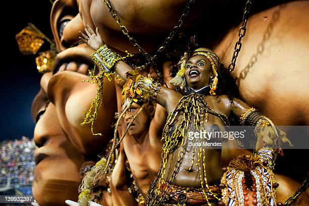 Member of Beija Flor dance during the samba school's champions parade at Marques de Sapucai on February 25 2011 in Rio de Janeiro Brazil Carnival is...