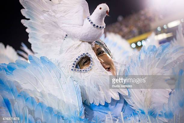 A member of Beija Flor Samba Schoolperforms during their parade at 2014 Brazilian Carnival at Sapucai Sambadrome on March 02 2014 in Rio de Janeiro...