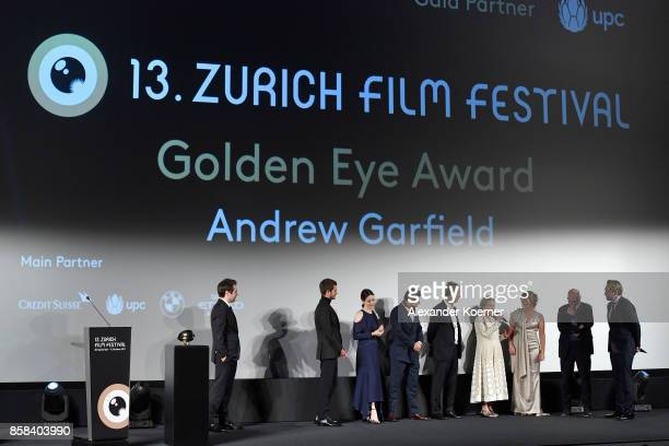 Member of Cast and Crew are seen on stage ahead of the 'Breathe' premiere at the 13th Zurich Film Festival on October 6 2017 in Zurich Switzerland...