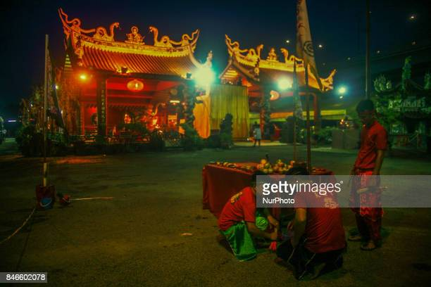 Member of chinese make a last preparation before start a specials prayer during the hungry ghost festivals in Teluk Pulai Klang Malaysia on September...