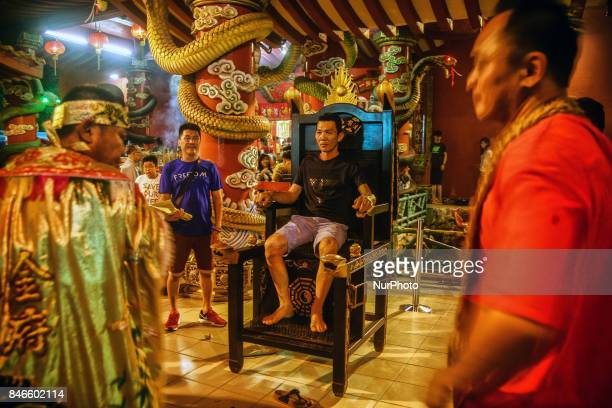 Member of chinese perform a specials prayer during the hungry ghost festivals in Teluk Pulai Klang, Malaysia on September 12, 2017. Photo by Samsul...