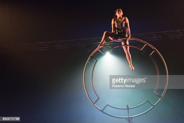 A member of Colombian circus company Circolombia performs 'Acelere' on stage at The Underbelly Circus Hub during the 70th edition of the Edinburgh...