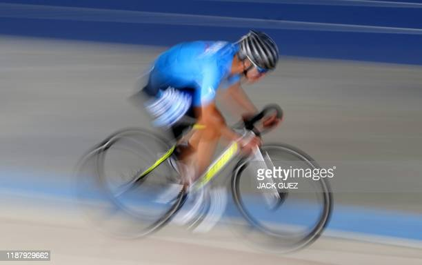 A member of cycling team Israel StartUp Nation is pictured during a training session in the Sylvan Adams National Velodrome on December 10 2019 in...