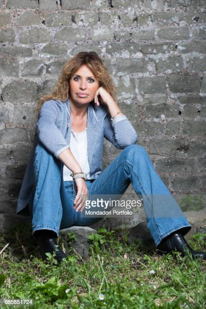 Member of EU Parliament Alessandra Mussolini leaning on a wall Rome Italy 7th May 2016
