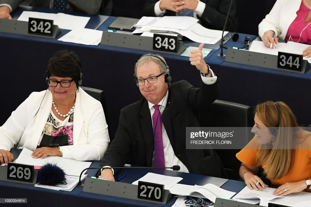 Member of European Parliament Axel Voss reacts after the vote on copyright in the Digital Single Market during a voting session during a plenary session at the European Parliament on September 12, 2018 in Strasbourg, eastern France.