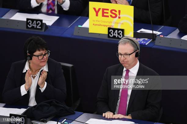 Member of European Parliament Axel Voss reacts after the vote on copyright in the Digital Single Market during a plenary session at the European...