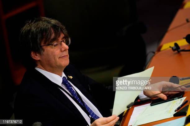 Member of European Parliament Carles Puigdemont attends a European Parliament plenary session in Brussels on January 29 as Brexit Day is to be set in...