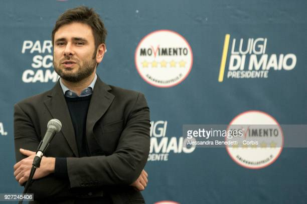 Member of Five Stars Movement Alessandro Di Battista comments the first exit polls estimating the Five stars movement as first italian political...