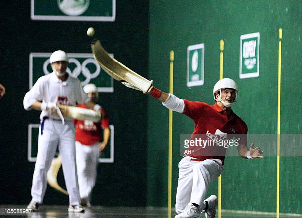 Member of France's jai alai team Jon Tambourendeguy competes during the match against Mexico in the cesta punta category during the the world...