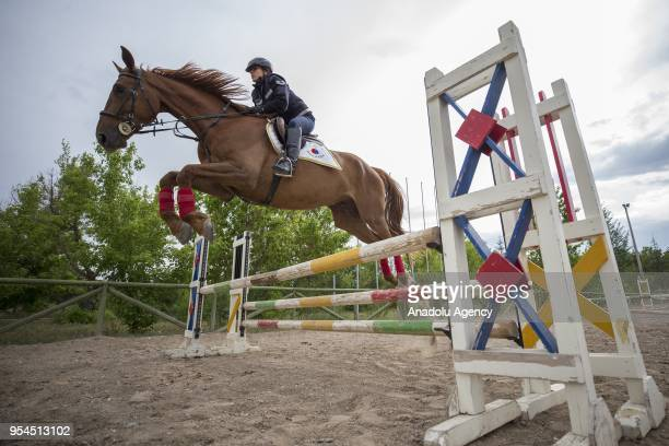 A member of Gendarmerie Horse and Dog Training Center which operates within the scope of Gendarmerie General Command since 2003 trains a horse in...