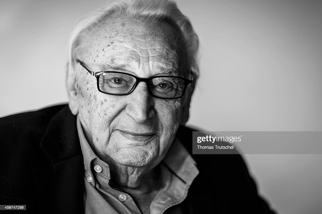 Image has been converted to black and white.) BERLIN, GERMANY - October 28: Member of German Social Democrats (SPD) Egon Bahr, poses for a photograph in his office at Willy-Brandt-House on October 28, 2014 in Berlin, Germany.
