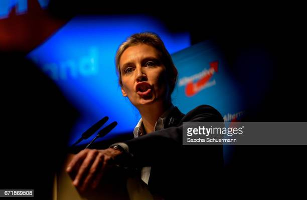 Member of Germany's rightwing populist Alternative for Germany party Alice Weidel delivers a speech after her nomination as one of the campaign...