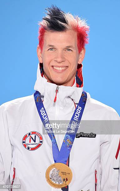 Member of Gold medalist Norway, Magnus Krog celebrates during the medal ceremony for the Nordic Combined Team Large Hill / 4 x 5 km on day thirteen...