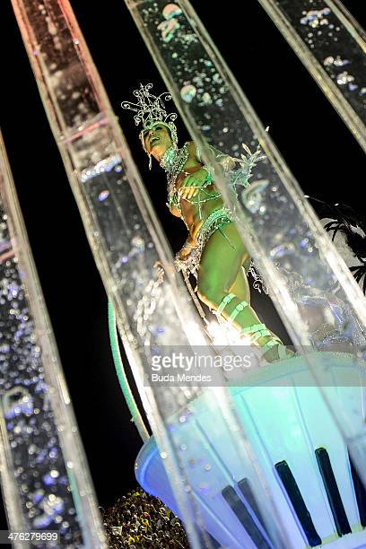 A member of Grande Rio Samba School during their parade at the 2014 Brazilian Carnival at Sapucai Sambadrome on March 02 2014 in Rio de Janeiro...