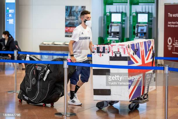 Member of Great Britain's Olympic delegation arrives at Haneda airport on on July 13, 2021 in Tokyo, Japan. Following a surge in coronavirus...