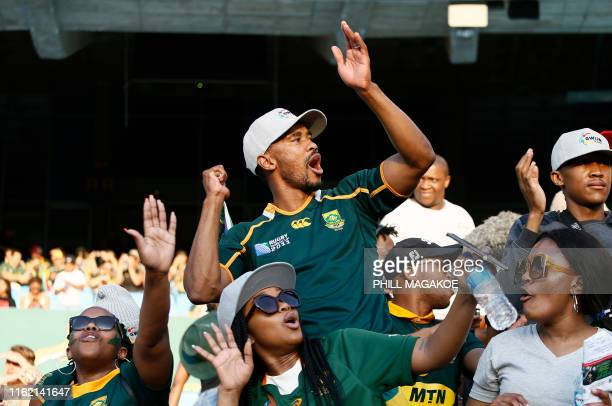 Member of Gwijo Squad, a sports fans movement, sings in support of the South African Rugby National Team during the 2019 Rugby Union World Cup...