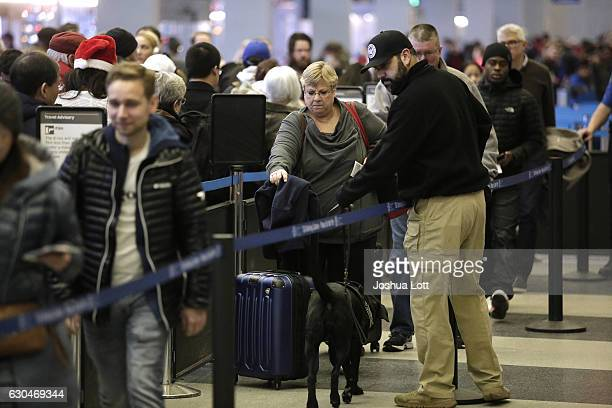 A member of Homeland Security walks with his K9 dog as travelers wait in the TSA security line at O'Hare International Airport on December 23 2016 in...