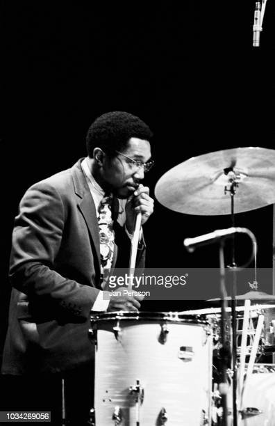 Member of Horace Silver's Quintet, American jazz drummer Billy Cobham performing in Copenhagen, Denmark, 1968.