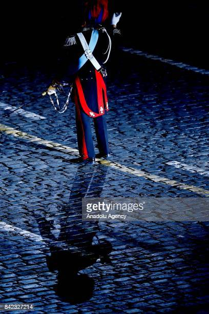 A member of Italy's Carabinieri band during the closing of 2017 Spasskaya Tower International Military Music Festival at the Red Square in Moscow...