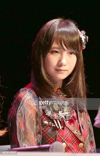 Member of Japanese pop group AKB48 attends a fan meeting on July 29 2014 in Shanghai China
