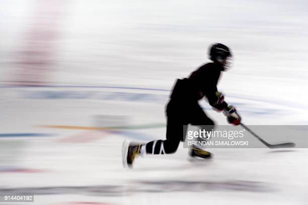 Member of Japan's Women's Ice Hockey team practices at the Kwandong Hockey Centre prior the PyeongChang 2018 Winter Olympic Games on February 5, 2018...