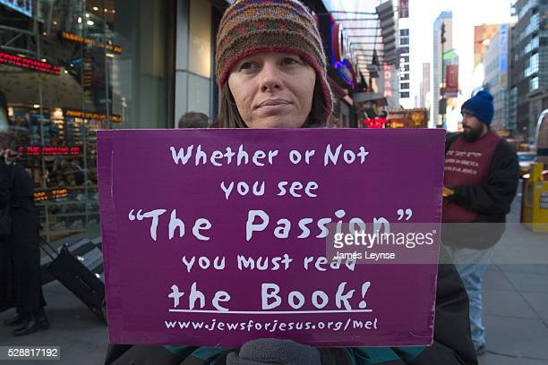 A member of 'Jews for Jesus' pickets in Times Square near a movie theater where Mel Gibson's 'The Passion of the Christ' was playing