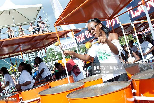 A member of Joylanders steelband practices at Panorama semifinals at Queen's Park Savannah in Port of Spain Trinidad and Tobago on January 27 2013...