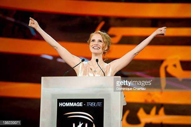 Member of Jury Jessica Chastain delivers a speach before the tribute to Actor/director Forest Whitaker during Marrakech International Film Festival...