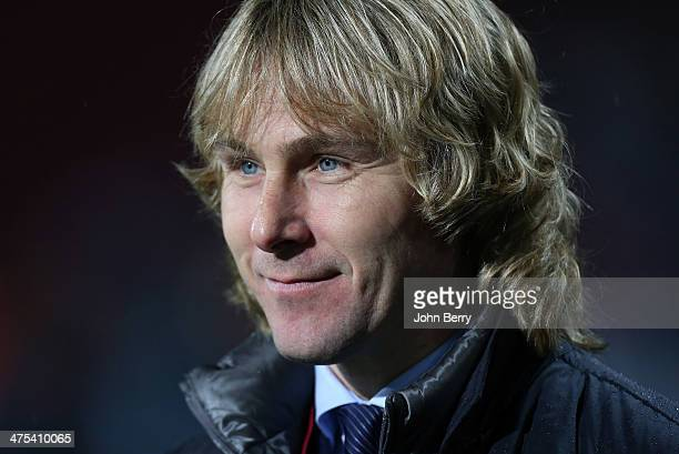 Member of Juventus board Pavel Nedved looks on during the UEFA Europa League round of 32 match between AS Trabzonspor and Juventus Turin at Huseyin...