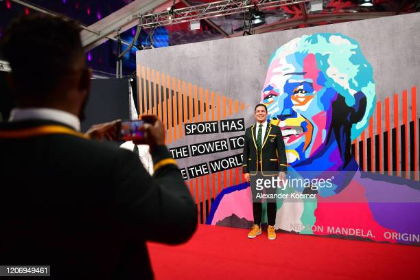 Member of Laureus World Team of the Year the South Africa Men's Rugby Team Francois Louw poses during the 2020 Laureus World Sports Awards at Verti...