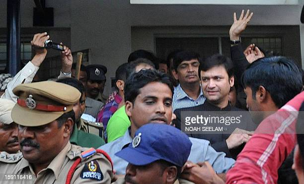 Member of Legeslative Assembly from the MajliseIttehadul Muslimeen party Akbaruddin Owaisi leaves the Gandhi Hospital after medical tests in...