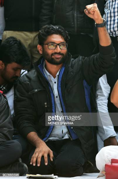 Member of legislative assembly from Gujarat and social activists Jignesh Mevani gestures during a rally in New Delhi on January 9 2018 The rally was...