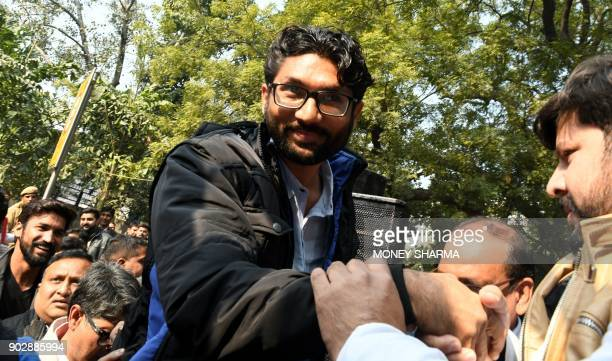 Member of legislative assembly from Gujarat and social activists Jignesh Mevani arrives for a rally in New Delhi on January 9 2018 The rally was done...