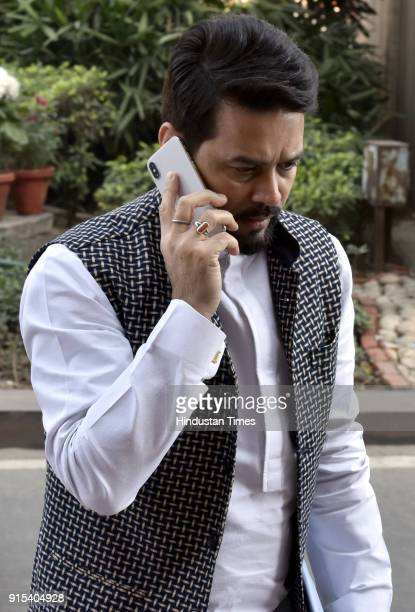 Member of Lok Sabha from Hamirpur in Himachal Pradesh Anurag Thakur during the Parliament Budget Session on February 7 2018 in New Delhi India Prime...