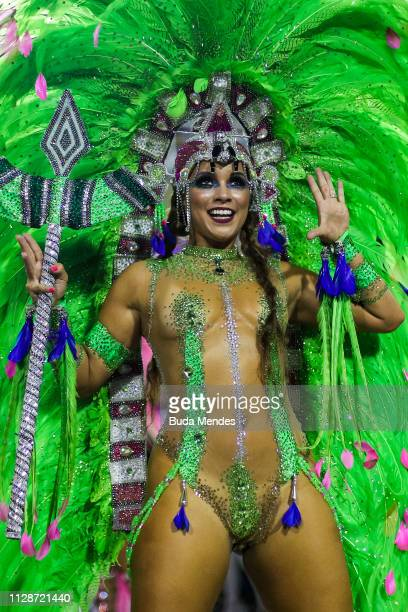 A member of Mangueira Samba School performs during the parade at 2019 Brazilian Carnival at Sapucai Sambadrome on March 04 2019 in Rio de Janeiro...